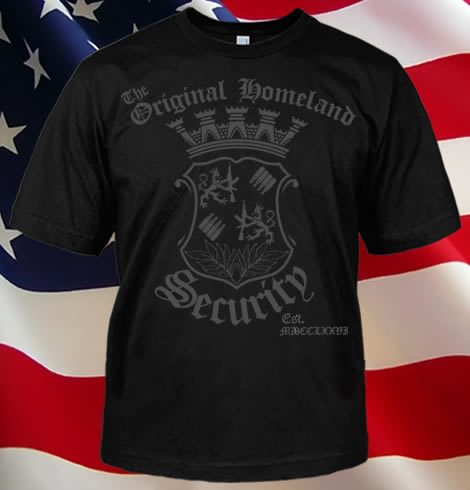 THE ORIGINAL HOMELAND SECURITY HERALDRY GUN T-SHIRTL